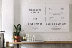 Stable menu.  Melanie Giles Cafe / Cereal Magazine
