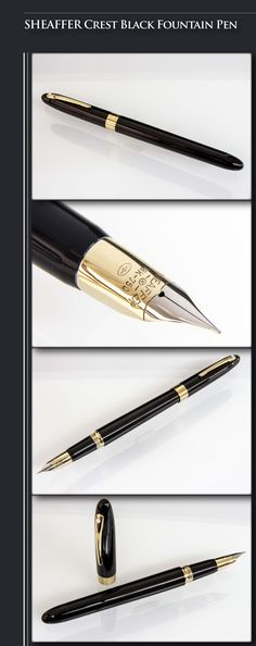 SHEAFFER Crest Black Fountain Pen (Solid brass body, 23 coats of lacquer, 23kt electroplated gold trim) - 1992 / USA