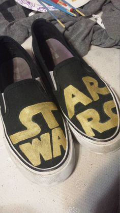 924e185240 Star Wars logo hand painted Vans style slipon shoes. Hey