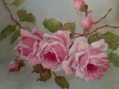 BARNES OIL PAINTING KLEIN PINK ROSES ANTIQUE VINTAGE STYLE SHABBY STILL LIFE