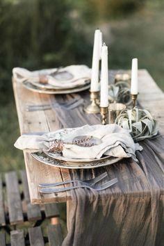 Organic, Candlelit Wedding Inspiration with agate coasters
