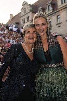 (L-R) Gloria, Princess of Thurn and Taxis and daughter Princess Elisabeth during the Thurn and Taxis Palace Festival at St. Emmeram Palace in Regensburg, Germany, 18 July 2013