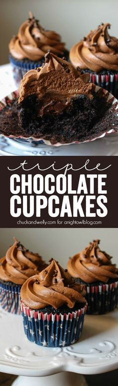 Triple Chocolate Cupcakes - decadent chocolate cupcakes filled with homemade chocolate ganache and topped with the BEST chocolate frosting!