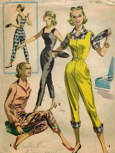 50s jumpsuit capri pants suit overalls black yellow color illustration vintage fashion The Midvale Cottage Post