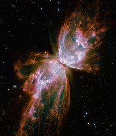 This celestial butterfly is far from serene. What resemble dainty butterfly wings are actually roiling cauldrons of gas heated to nearly 20,000 degrees Celsius. The gas is tearing across space at more than 950,000 kilometers per hour – fast enough to travel from Earth to the Moon in 24 minutes! (NASA, ESA and the Hubble SM4 ERO Team)