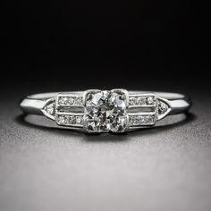 .36 Carat Platinum Diamond Art Deco Engagement Ring