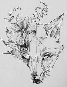 Скетч для татуировки с лисой
