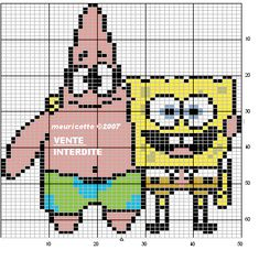 SpongeBob and Patrick hama perler beads pattern by Mauricette