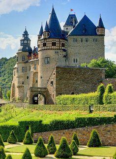 Schloss Bürresheim, (Bürresheim Castle) Mayen, Rhineland-Palatinate, Germany was built in the 12th century.  Like the castles Burg Eltz and Lissengen, Burresheim Castle was never conquered or significantly damaged despite numerous wars and social upheavals over the centuries.