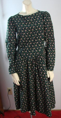 Vintage 80s Laura Ashley Great Britain Green Corduroy Floral Tea dress S by TheScarletMonkey on Etsy