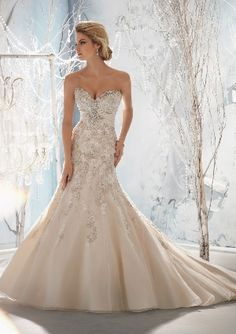 View Dress - Mori Lee Bridal FALL 2013 Collection: 1953 - Beaded, Raised Embroidery on Net with Taffeta Empire | MoriLee Bridal | Bridal Shops Toronto Wedding | Evening Dresses Bridal Gowns