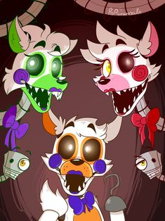 This is Lolbit, Tangle, and Mangle. Tangle and Lolbit don't have much fanart, but hopefully they will get more.