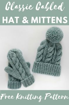 Click for the free knitting pattern and video tutorial for this cabled hat and mitten set! www.kniftyknittings.com