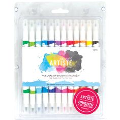 Artiste Dual Tip Brush Markers: Bright. Perfect for rubber stamps, painting and blending! Vary pressure to alter thickness of line. This package contains twelve double-tip watercolor pens in an assortment of colors in one 8- 1/2x6-1/2x1/2 inch container.