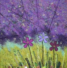 """""""Violets""""   Felted Wool on canvas.  15""""X24"""".   Bearpaw-paperworks.com   $175"""