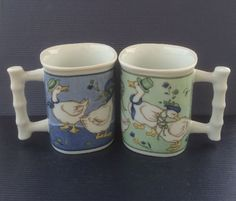 Easter Coffee Mugs - Set of 2 with Male and Female Duck Designs - Green and Blue
