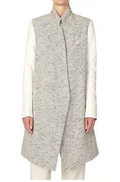 Bassike Leather Sleeve Coat