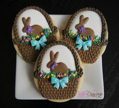 Easter basket cookies by Sugar Cravings Fancy Cookies, Iced Cookies, Easter Cookies, Easter Treats, Shortbread Cookies, Holiday Cookies, Cupcake Cookies, Cupcakes, Easter Biscuits