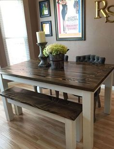 Cool 30+ Rustic Farmhouse Table Ideas To Use In The Decor #refurbishedtable Kitchen Table Chairs, Dining Table With Bench, Walnut Dining Table, Kitchen Benches, Dining Room Table, Wood Table, Dining Set, Dining Chairs, Farm House Dinning Table