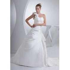 A-Form Satin Hochzeitskleid Brautkleid mit Deko-Blumen