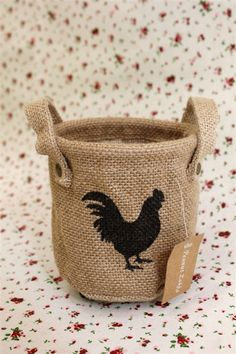 cock Eco jute Storage bag / fabric storage basket / kitchen storage /chicken Storage bag / household storage P066. $6.00, via Etsy.