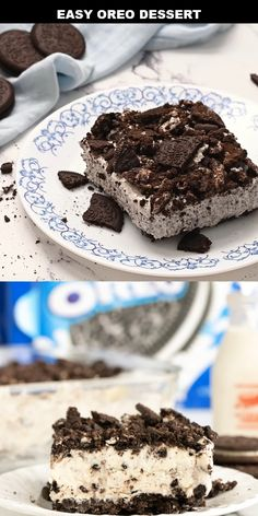 This no-bake easy Oreo dessert is quick to make and tastes amazing. It has a crust and topping made of crushed Oreos and a creamy frozen filling. Oreo Dessert Recipes, Easy Baking Recipes, Fun Desserts, Easy Oreo Recipes, Easy Oreo Cake Recipe, Amazing Dessert Recipes, Easy Desserts To Make, Oreo Cheesecake Recipes, Frozen Desserts