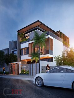 Biệt thự anh Việt. 10mx20m on Behance 3 Storey House Design, Bungalow House Design, House Front Design, Unique House Design, Modern Bungalow, Modern Exterior House Designs, Modern House Facades, Dream House Exterior, Philippines House Design