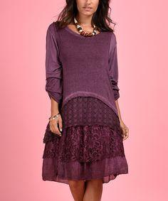 Loving this La Fille du Couturier Purple Lacy Fray-Hem Shift Dress on #zulily! #zulilyfinds