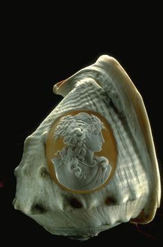 A cameo carved into a conch shell.  The National Gem Collection, photo by Chip Clark.