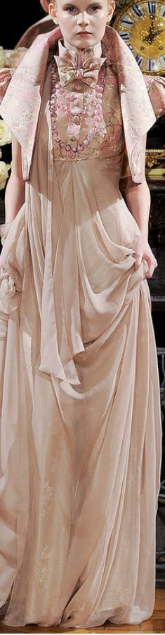 Jantaminiau ~ Haute Couture Sheer Gown w Embroidered Bodice and Bolero Style Jacket Pink+Nude 2015