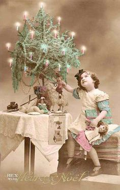 Antique French Christmas postcard : ca.1900