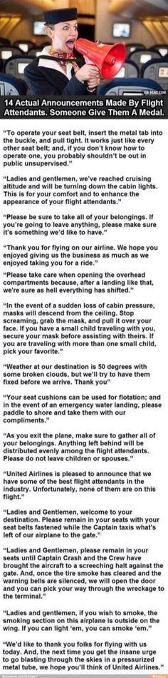 Flight Attendant Announcements