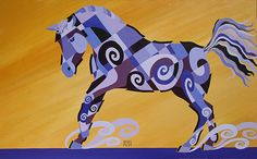 The Tao of the Blues, Acrylic Horse Painting