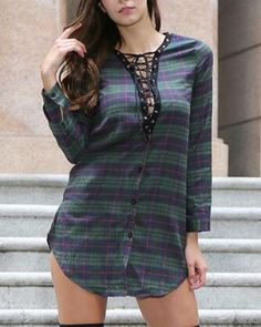 Black and white plaid lace up shirt dress deep v neck curve hem for women