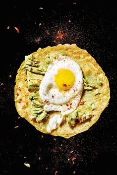 Crepes with avocado, artichoke, and eggs