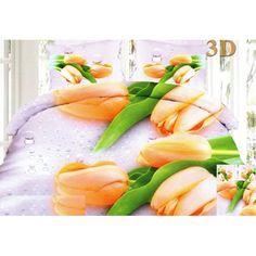 Moderní ložní 3D povlečení v bílé barvě s oranžovými tulipány - dumdekorace.cz