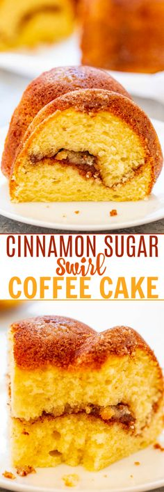 Cinnamon Sugar Swirl Coffee Cake - Between The Cinnamon-Sugar Crust And The Cinnamon-Sugar Swirled Through The Center, This Easy Coffee Cake Is Irresistible Soft, Fluffy, Light, And Of Course It's Perfect With Coffee Best Dessert Recipes, Easy Desserts, Delicious Desserts, Cake Recipes, Yummy Food, Bread Recipes, Healthy Food, Vegetarian Breakfast Recipes, Cupcake Cakes