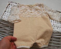 Newborn Romper Prop; Lace; Beige and Cream; Long Sleeve Romper; Newborn Overall; Baby Girl Romper; Newborn Photo Prop; Photography Prop