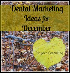 Dental Marketing and Practice Management Ideas for December - Dental Marketing with Hayden Consulting Chiropractic Marketing Ideas