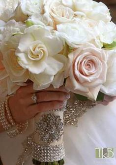 Romantic Bridal Bouquet of Sahara roses, freesia, gardenias and ranunculus wedding flower bouquet, bridal bouquet, wedding flowers, add pic source on comment and we will update it. www.myfloweraffair.com can create this beautiful wedding flower look.