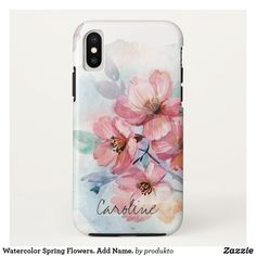 Coque iPhone X Watercolor Spring Flowers. Add Name. Diy Iphone Case, Iphone Cases Disney, Iphone Phone Cases, Laptop Cases, Iphone 11, Custom Cell Phone Case, Girly Phone Cases, Coque Iphone, Spring Flowers