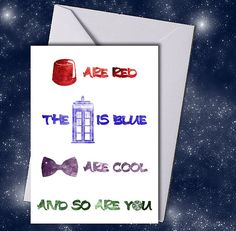 Doctor Who Inspired Rhyme Valentine's Day Card  by geekabyebaby, $6.00