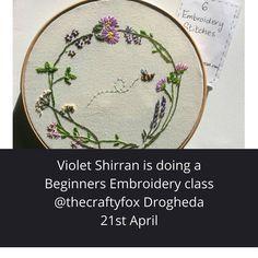 Beginners Embroidery class @violetshirran @thecraftyfoxie Embroidery Stitches, Hand Embroidery, Embroidery For Beginners, Textile Artists, Textiles, Instagram, Fabrics, Needlepoint Stitches, Textile Art