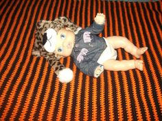 Clearance Sale Black and Orange Crochet Baby Blanket by missy69
