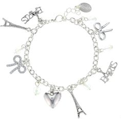 Paris-Chic Charm Bracelet ($9.11) ❤ liked on Polyvore featuring jewelry, bracelets, accessories, pulseiras, metal charms, charm bracelet, charm jewelry, charm bracelet bangle and clasp charms