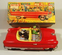 1950'S TIN FRICTION VERY IMPORTANT PERSON CONVERTIBLE LINCOLN CAR DTC JAPAN