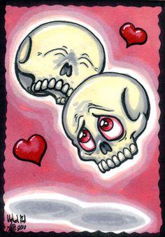 ACEO Gothic Love ooak Skulls by Undead-ART-ACEO.deviantart.com on @deviantART