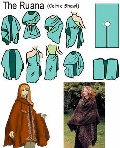 Ruana Celtic shawl More (Diy Clothes) Diy Clothing, Sewing Clothes, Clothing Patterns, Celtic Clothing, Create Clothing, Wrap Clothing, Diy Fashion, Fashion Design, Witch Fashion
