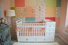 Fly a kite nursery for my baby girl.  Patchwork wall, bedding, lampshade, window seat pad, all made by me :)