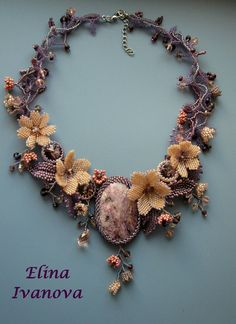 Beaded flower necklace natural charoite OOAK by Elinawonderland